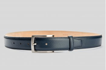 Grain leather blue belt
