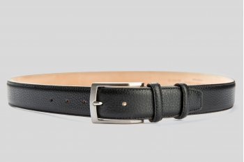 Grain leather black belt