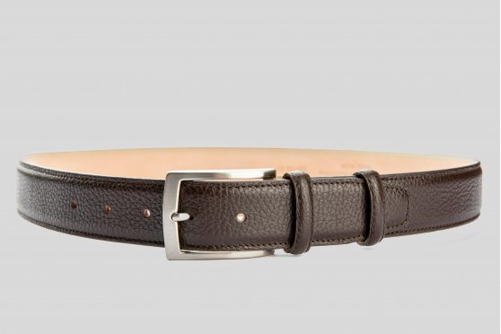 Grain leather brown belt