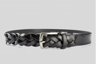 Braided leather black belt