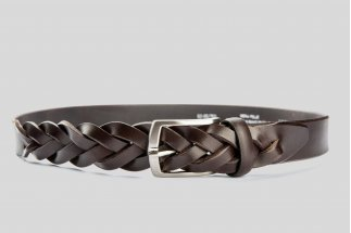 Braided leather brown belt