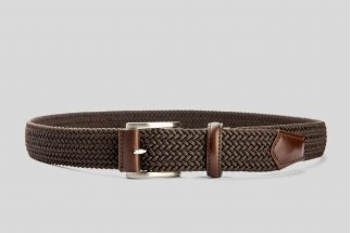 Braided elastic brown belt