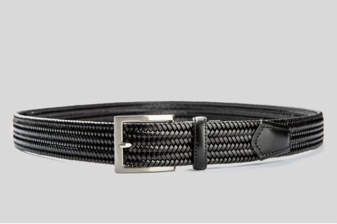 Braided elastic leather black belt