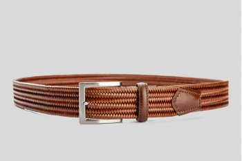Braided elastic leather brown belt