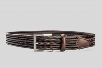 Braided elastic leather dark brown belt