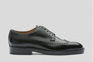 Black derby with brogueing