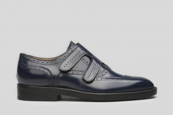 Blue Double Monks with brogueing and velcro