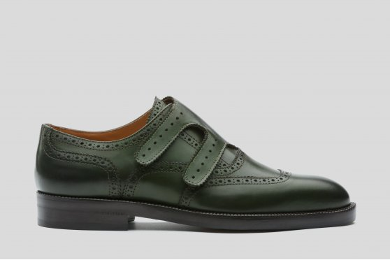 Green double monks with brogueing and velcro